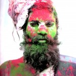 (6) A Indian man wears facepaint at a festival in India.